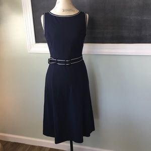 Dresses & Skirts - Ann Taylor LOFT Belted Navy Ivory Trimmed Dress 4